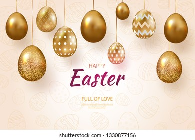 Composition of Easter eggs. Festive background On a light background golden Easter eggs with geometric patterns. Template for posters and posters for the sale of banners. Happy Easter day. Vector