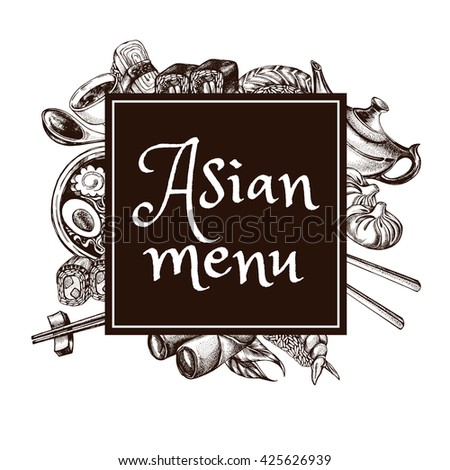 Composition With Elements Of Asian Cuisine Menu Or Signboard Template For Restaurant Hand Drawn