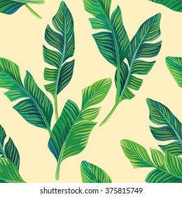 Composition of exotic palm banana leaf on a light yellow background. Print summer seamless vector pattern wallpaper