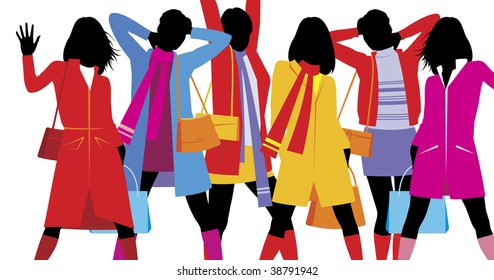 Composition with female figures. On six silhouettes the bright clothes are dressed. They are located on a white background.