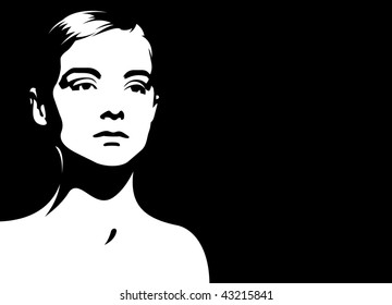 Composition with a female head. The female head is located on a black background. Nearby a free field for the text.