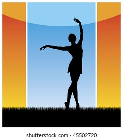 Composition with a female silhouette. The woman dances on a grass with the hands lifted upwards. Behind it there is a blue sky.