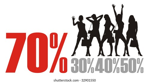 Composition with female silhouettes and percent. In the top part of a composition female figures are located. Under them different percent.
