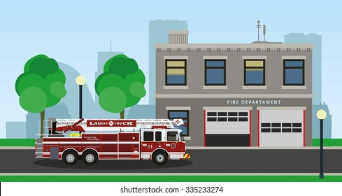The composition of the fire truck and fire station. Vector illustration.