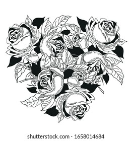 Composition of flowers, monochrome, roses, bouquet