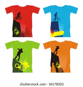 Composition with four T-shirts. On them extreme sports are represented. T-shirts are located on a white background.