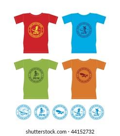 Composition with four T-shirts. On them emblems with extreme sports are represented. Nearby it is located five emblems.