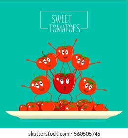 The composition of fresh healthy red and funny tomatoes on a plate. Great for design of healthy lifestyle and different advertising projects. Vector illustration