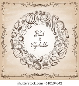 The composition with fruit and vegetable in a circle on the blackboard. Hand drawn elements. Vector illustration.