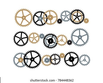 Composition of gears. Image of mechanism composed by various toothed wheels.