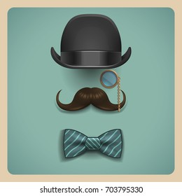 Composition of gentleman accessories. Realistic black bowler hat, brown mustache, golden monocle and bow tie isolated on retro background. Vector illustration.