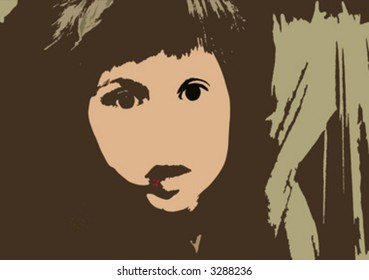 composition with girl face on abstract grunge background