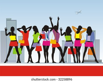 Composition with girls and purchases. Eight girls in bright summer clothes. In hands at them packages with purchases.