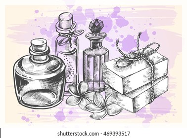 Composition with glass bottles, soap and frangipani flowers. Template for design of organic cosmetics. Hand-drawn vector illustration.