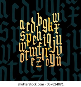 Composition of golden lowercase letters blackletter gothic font. All handdraw lowercase letters. Vector EPS 10.