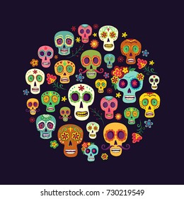 Composition from a group of sugar skulls on a dark background. Bright background to the mexican day of the dead