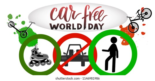 Composition of hand drawn lettering World Car Free Day with decorative elements. Modern calligraphy for greeting card, print, poster. Support social movement, encourage people to walk, cycle.