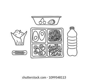 Composition with hand drawn outline lunch boxes, water bottle, muffin and cookie isolated on white background.