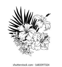 Composition with hibiscus and palm leaves. Vector botanical illustration