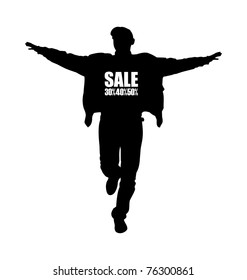 Composition with the image of a man's silhouette. The man runs having lifted hands. The silhouette has black color.