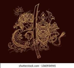 Composition with japanese native mask, samurai sword and dragon on a brown background.