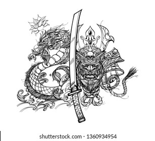 Composition with japanese native mask, samurai sword and dragon on a white background.