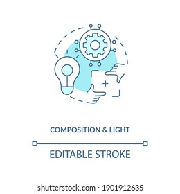 Composition and light concept icon. Game designer skills. Create perfect scene for your game. Development idea thin line illustration. Vector isolated outline RGB color drawing. Editable stroke