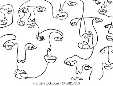 Composition with linear face human in abstract cubism style. Black and white graphic illustration.