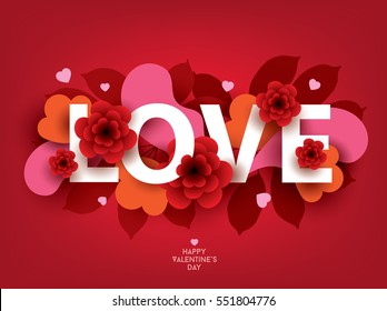 Composition with LOVE inscription and abstract florals elements. Colorful vector illustration for your banner, poster, flyer, brochure