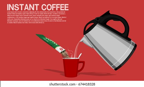 Composition of mixing instant coffee on pink background