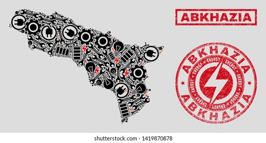 Composition of mosaic power supply Abkhazia map and grunge stamps. Mosaic vector Abkhazia map is created with equipment and electricity elements. Black and red colors used.