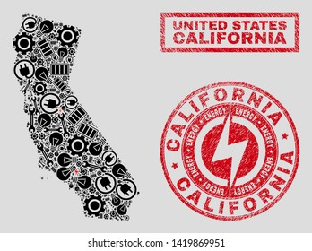 Composition of mosaic power supply California State map and grunge stamps. Mosaic vector California State map is composed with gear and bulb elements. Black and red colors used.