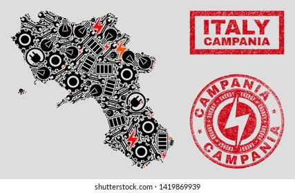 Composition of mosaic power supply Campania region map and grunge watermarks. Collage vector Campania region map is composed with workshop and power symbols. Black and red colors used.