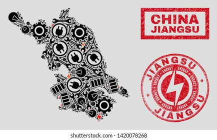 Composition of mosaic power supply Jiangsu Province map and grunge stamps. Collage vector Jiangsu Province map is designed with repair and electricity symbols. Black and red colors used.