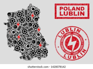 Composition of mosaic power supply Lublin Voivodeship map and grunge stamp seals. Mosaic vector Lublin Voivodeship map is composed with tools and energy symbols. Black and red colors used.