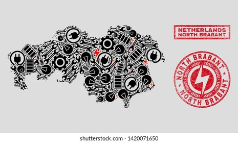 Composition of mosaic power supply North Brabant Province map and grunge stamps. Collage vector North Brabant Province map is designed with tools and electric symbols. Black and red colors used.