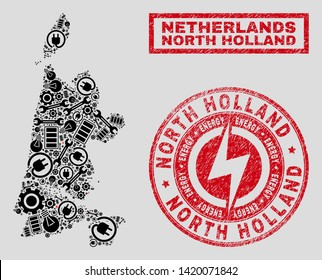 Composition of mosaic power supply North Holland map and grunge stamp seals. Mosaic vector North Holland map is designed with equipment and electricity elements. Black and red colors used.