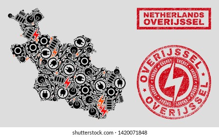 Composition of mosaic power supply Overijssel Province map and grunge stamp seals. Mosaic vector Overijssel Province map is created with workshop and electric elements. Black and red colors used.