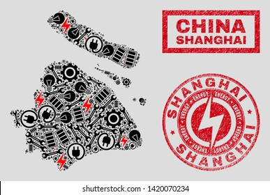 Composition of mosaic power supply Shanghai City map and grunge watermarks. Mosaic vector Shanghai City map is created with tools and energy elements. Black and red colors used.