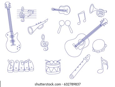 Composition from musical instruments drawn by hand. Guitars, pipe, notes, drum, maracases. Vector illustration