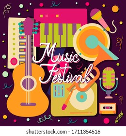 A composition of musical instruments for a poster, abstract banner, background or map for a Brazilian holiday, Mexican holiday, music festival, party or event. Vector illustration