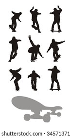 Composition with nine silhouettes of teenagers going on skateboards. All silhouettes of black colour. Under them the skateboard silhouette is located.