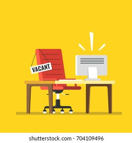 Composition with office chair Computer table and a sign vacant. Business hiring and recruiting concept. Flat vector illustration.