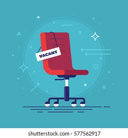 Composition with office chair and a sign vacant. Business hiring and recruiting concept. Vector illustration.