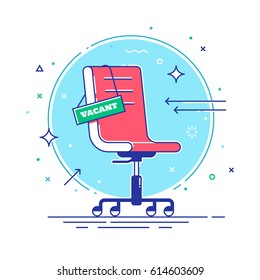 Composition with office chair and a sign vacant. Business hiring and recruiting concept. Thin lines. Vector illustration.