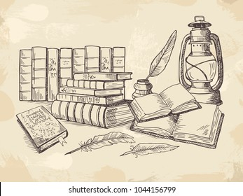 Composition from old handwriting books. Literature and feather, handwriting composition pen quill and notebook. Vector illustration