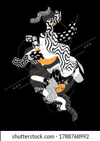 Composition of patterned wavy lines and zigzags. Abstract black and white illustration.
