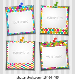 The composition photo frames. Vector illustration. Scrapbooking.
