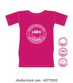 Composition with a pink T-shirt. On it the round stamp with hearts is represented. Nearby three more stamps are located.