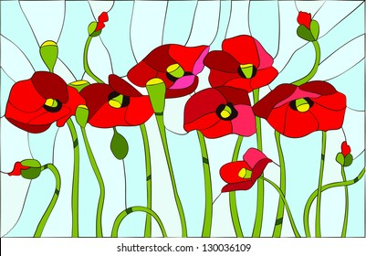 Composition with poppies. Poppies flowers angels / stained glass window